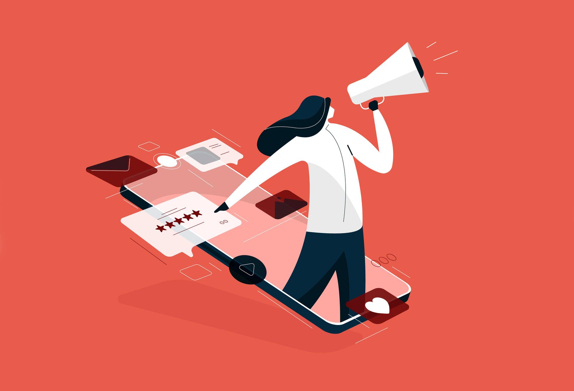 girl holding megaphone for Digital marketing, rating and feedback illustration, Digital business advertising strategies vector concept
